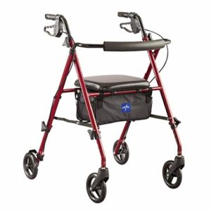 Medline Freedom Mobility Lightweight Folding Aluminum Rollator Walker with 6-inch Wheels, Adjustable Seat and Arms